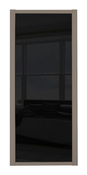 Shaker Sliding Wardrobe Door- STONE GREY FRAME- BLACK GLASS SINGLE PANEL